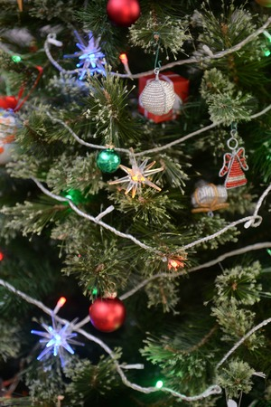 A close up shot of christmas treedecorations photo