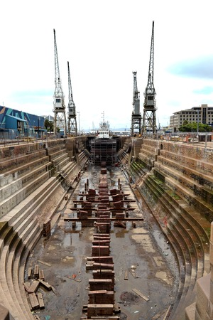 A shot of a dry dock ship yard photo