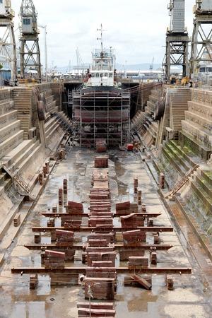 A shot of a dry dock ship yard photo