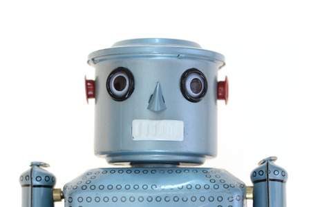 chorme: A robot isolated against a white  Stock Photo
