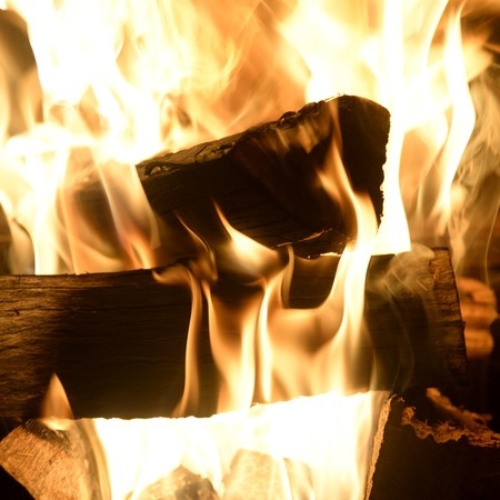 A close up shot of an open fire photo