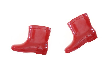 A close up shot of rain boots photo