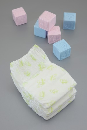 A close up shot of a child's nappy and cubes