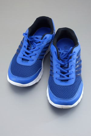 A close up shot of running shoes photo
