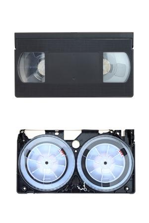 A close up shot of a video cassette photo