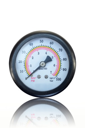 pressure gauge: A close up shot of a pressure gauge Stock Photo