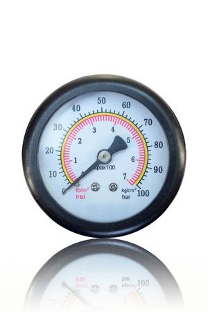 A close up shot of a pressure gauge Stock Photo