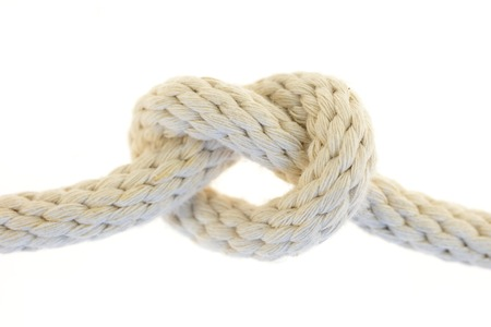 A close up shot of a white rope photo