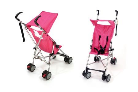 stroller: A close up shot of an infant stroller