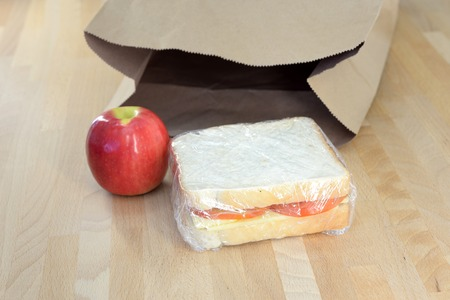 A close up shot of a conceptual packed lunch 写真素材