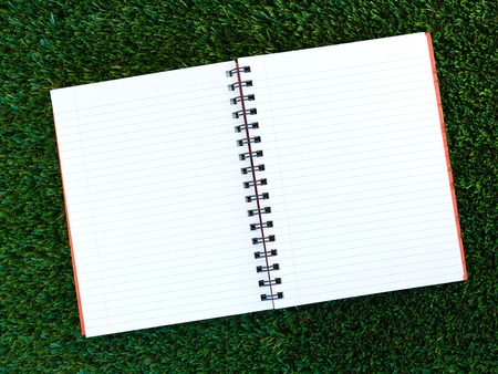A close up shot of a note book on artificial grass photo