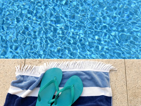 pool side: A close up shot of pool side items