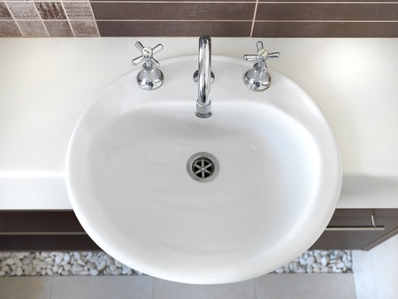 double sink: A close up shot of a bathroom setup Stock Photo