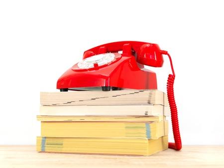 caller: A close up shot of telephone books