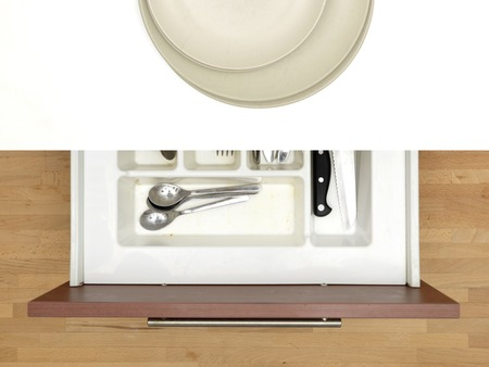 dinning: A close up shot a cutlery draw Stock Photo