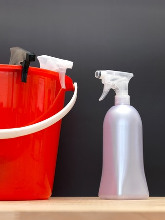 cleaning service: A close up shot of household floor cleaning items