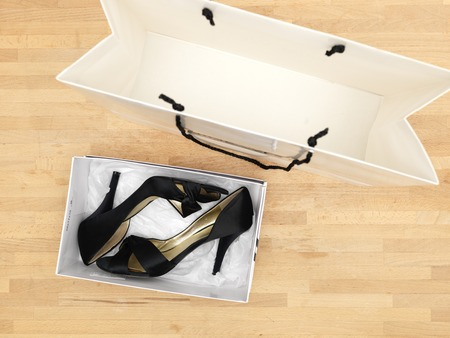 high  heeled: A close up of new ladies high heeled shoes