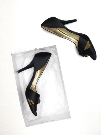 high heeled shoes: A close up of new ladies high heeled shoes