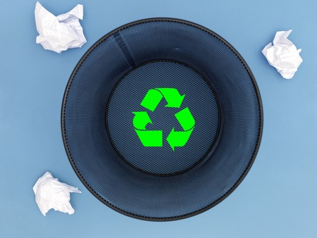 worthless: A close up shot of a trash can Stock Photo