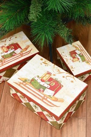 fake christmas tree: A close up shot of christmas presents