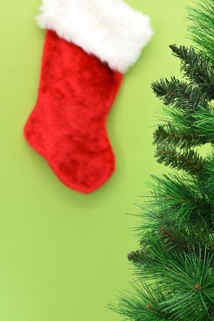 fake christmas tree: A close up shot of christmas stocking