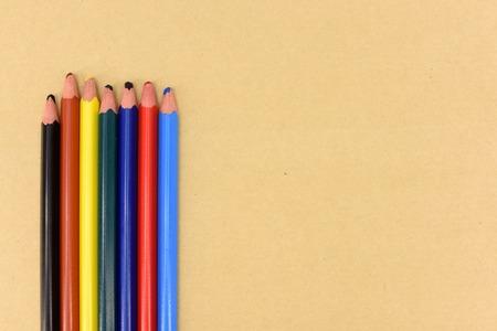 A studio photo of color pencils up close