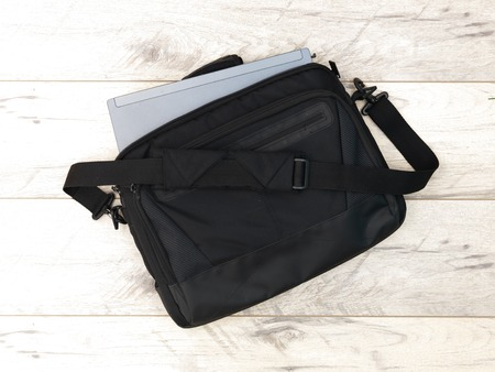 shoulder bag: A studio photo of a laptop shoulder bag Stock Photo
