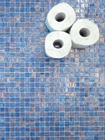 stored: A studio photo of stored toilet paper