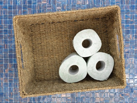 toilet roll: A studio photo of stored toilet paper