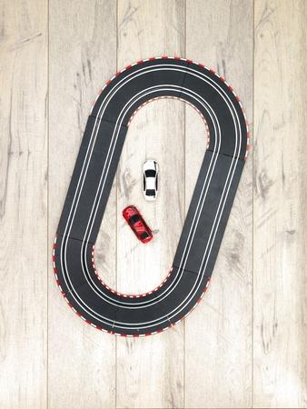 checker flag: A studio photo of a slot car race set Stock Photo