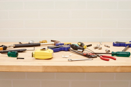A studio photo of workshop tool bench