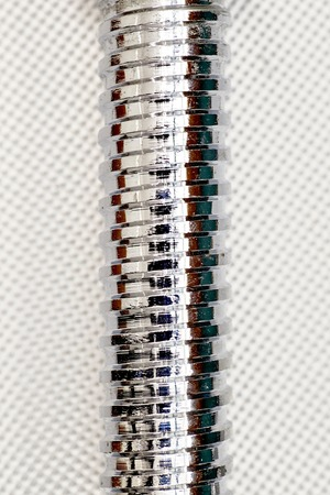 galvanised: A close up studio photo of a metal thread Stock Photo