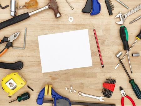carpenter's bench: A studio photo of workshop tool bench