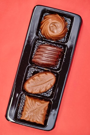 fancy sweet box: A close up studio photo of box chocolates