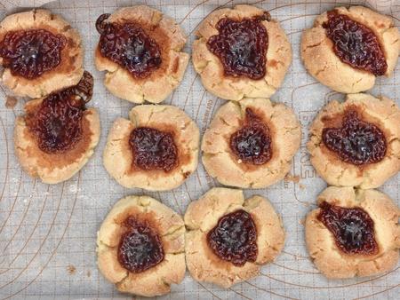 jam biscuits: A studio photo of jam drop biscuits Stock Photo