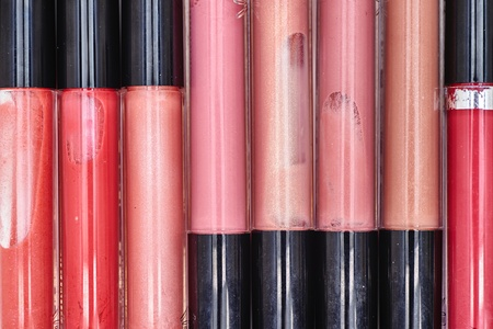 gloss: A studio close up of cosmetic lip gloss Stock Photo