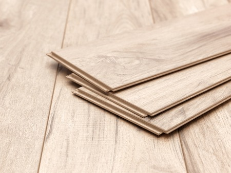 A studio photo of timber laminate flooring Stockfoto