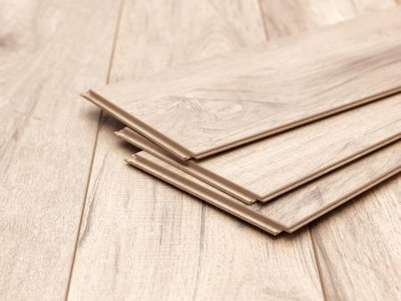 A studio photo of timber laminate flooring Foto de archivo