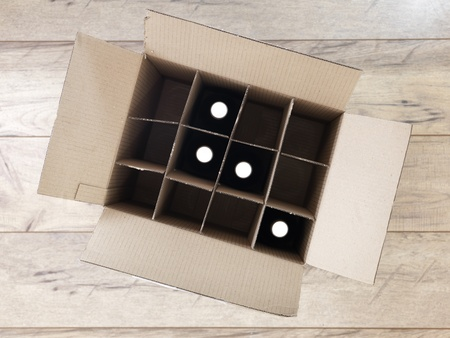 sonoma: A studio photo of a cardboard wine box