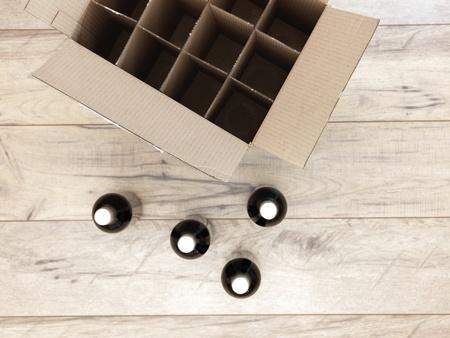 zinfandel: A studio photo of a cardboard wine box