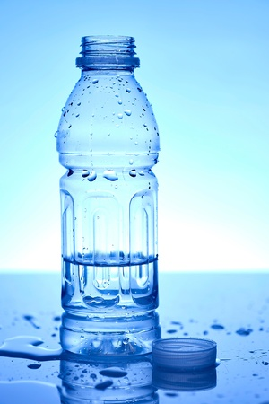 bottled water: A studio photo of bottled water up close
