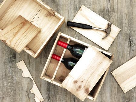 木製ワイン ボックスのスタジオをクローズ アップ 写真素材 - 58158414