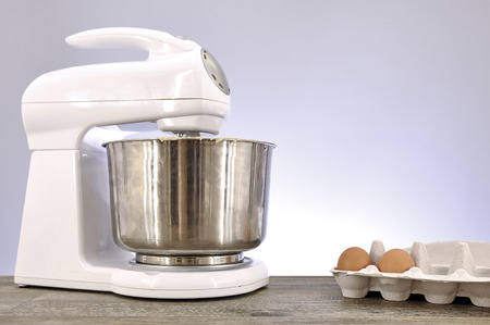 A studio photo of an electrical food mixer Stock Photo
