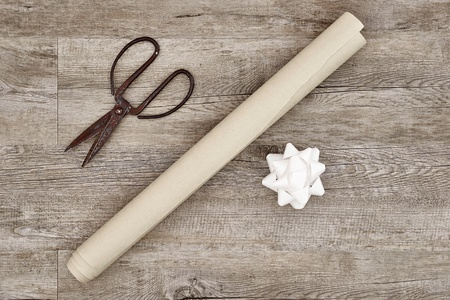 gift wrapping: A studio photo of gift wrapping items