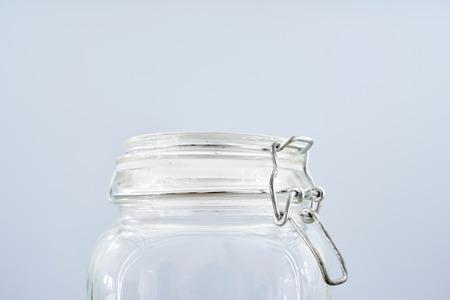 homeware: A studio photo of an empty glass jar Stock Photo