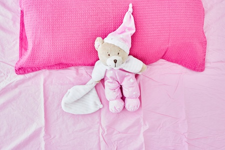 A studio photo of a pink bedroom pillow Stock Photo