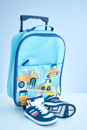 carryall: A studio photo of a kids travel case Stock Photo