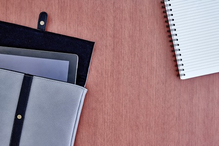 leatherette: A studio photo of a computer tablet case Stock Photo