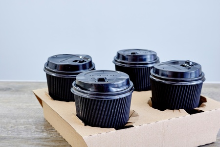 A studio photo of a takeaway coffee holder