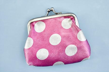 A studio photo of a pink coin purse Stock Photo